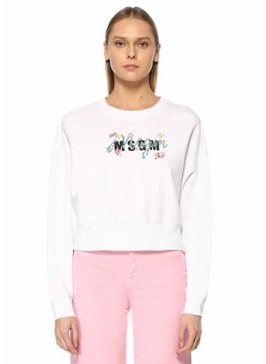 MSGM MSGM  Çiçekli Logolu Sweatshirt 101602560 Beyaz